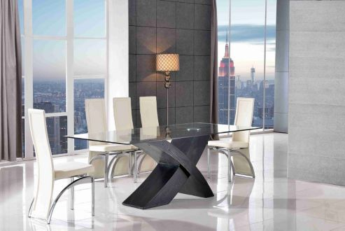 Valencia Glass & Black Oak 200 cm Dining Table & 8 Alisa Ivory Chairs