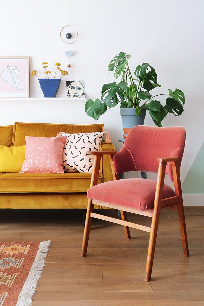 MY ATTIC SHOP / vintage / velvet chair / fluweel / pink / roze ...