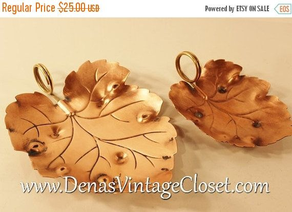 40% OFF EASTER SALE Retro Vintage Copper Leaf by DenasCollectibles