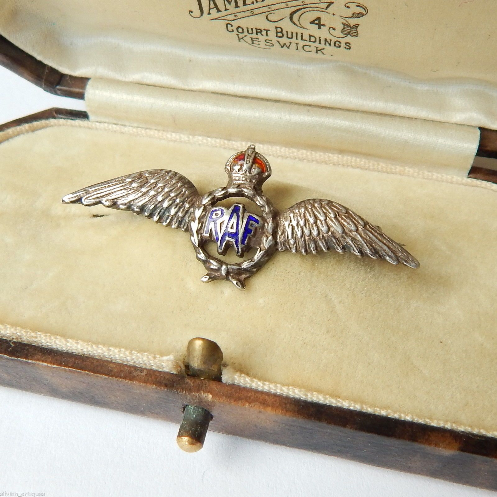 WW2 SILVER RAF PILOT WINGS SWEETHEART BROOCH R A F  PIN