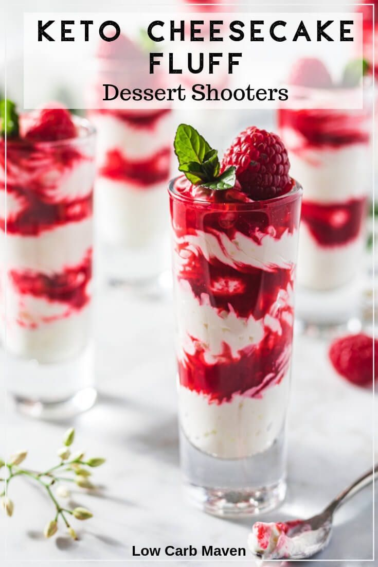 Keto Raspberry Cheesecake Fluff Dessert Shooters