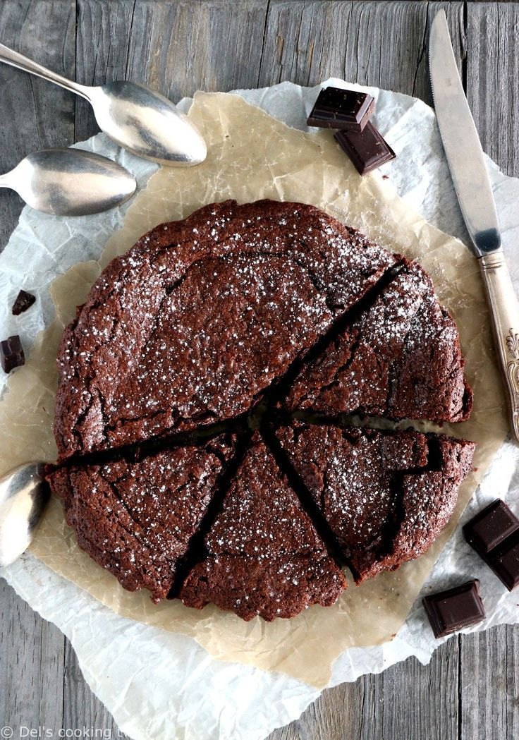 Fluffy French chocolate cake, moist in texture and topped with a thin crispy cru Fluffy French chocolate cake, moist in texture and topped with a thin crispy cru...