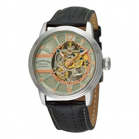 Stuhrling original prospero classic grey dial automatic skeleton watch for men men for Classic skeleton watch