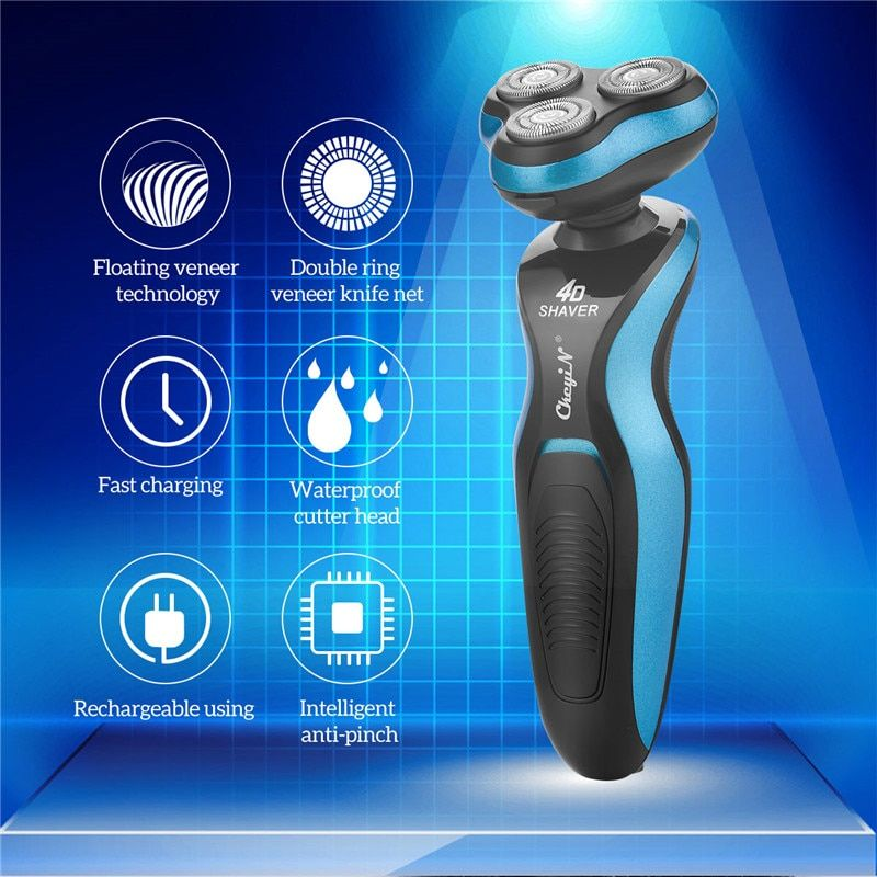 4d Floating Triple Head Electric Shaver Men Washable Wet Dry Beard Trimmer Shaving Machine Razor Rechargeable Shaver Face Care In 2020 Dry Beard Electric Shaver Men Shaving Machine
