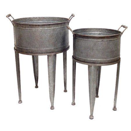 Wilco Home Farm To Table 2 Piece Galvanized Tin Washtub Beverage Bucket On Stand Set Beverage Tub Drink Bucket Galvanized Beverage Tub