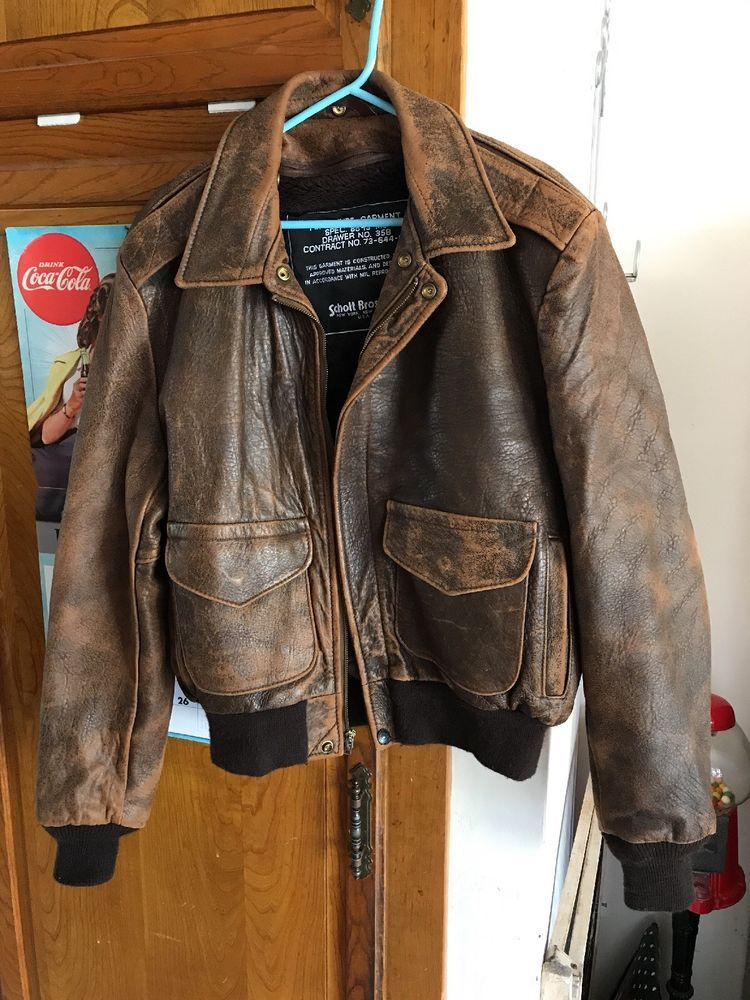 Vintage schott leather bomber jacket #SCHOTT #FlightBomber