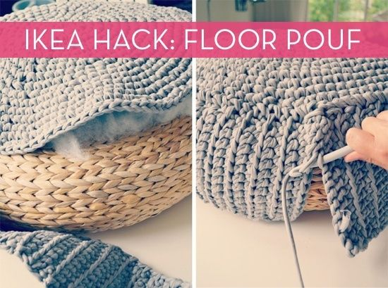 Ikea Hack Floor Pouf Diy Home Pinterest Häkeln Stricken Et