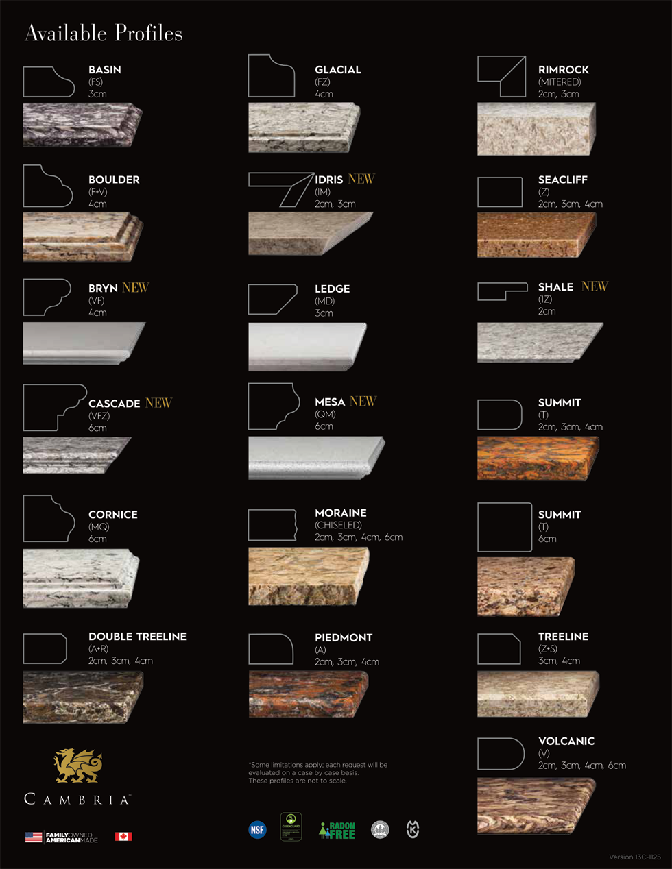 Cambria Edge Profiles Best Kitchen Countertops Countertops