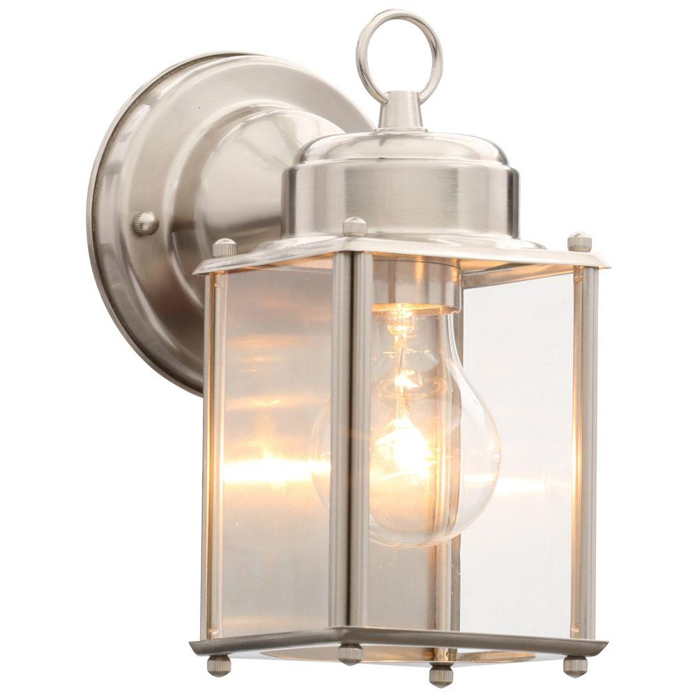 Progress Lighting Brushed Nickel 8 In Outdoor Wall Lantern Sconce P5607 09 The Home Depot Outdoor Wall Lantern Wall Lantern Outdoor Walls