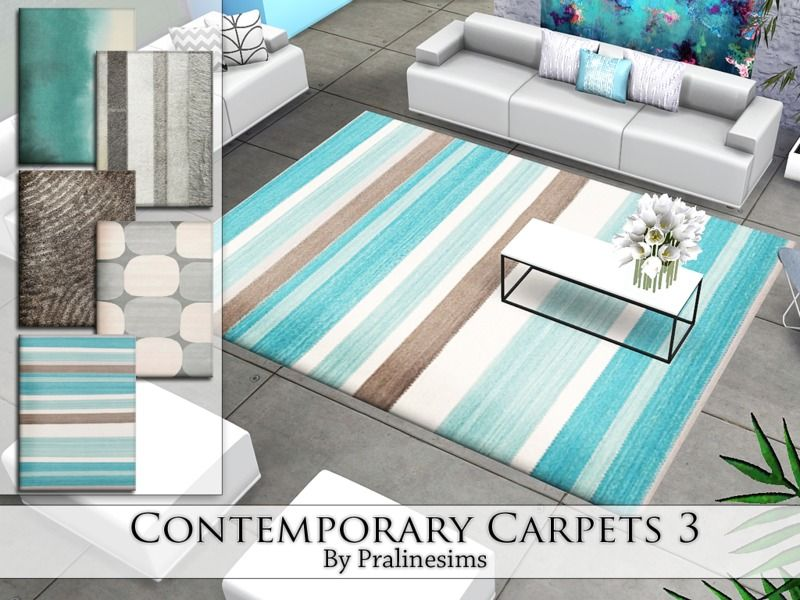 This set contains 5 modern rugs. Found in TSR Category 'Sims 4 Decorative Recolor Sets'