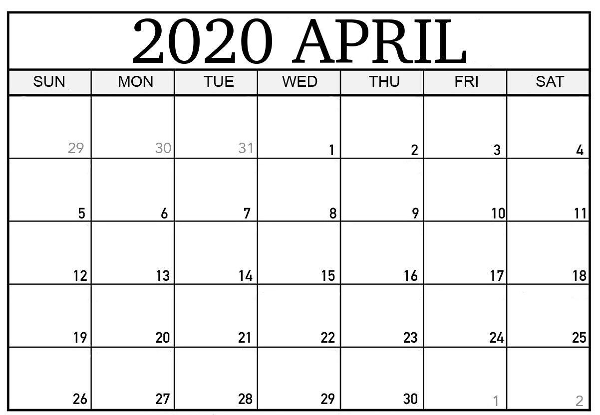 April 2020 Calendar Printable Template Blank Editable Word Pdf