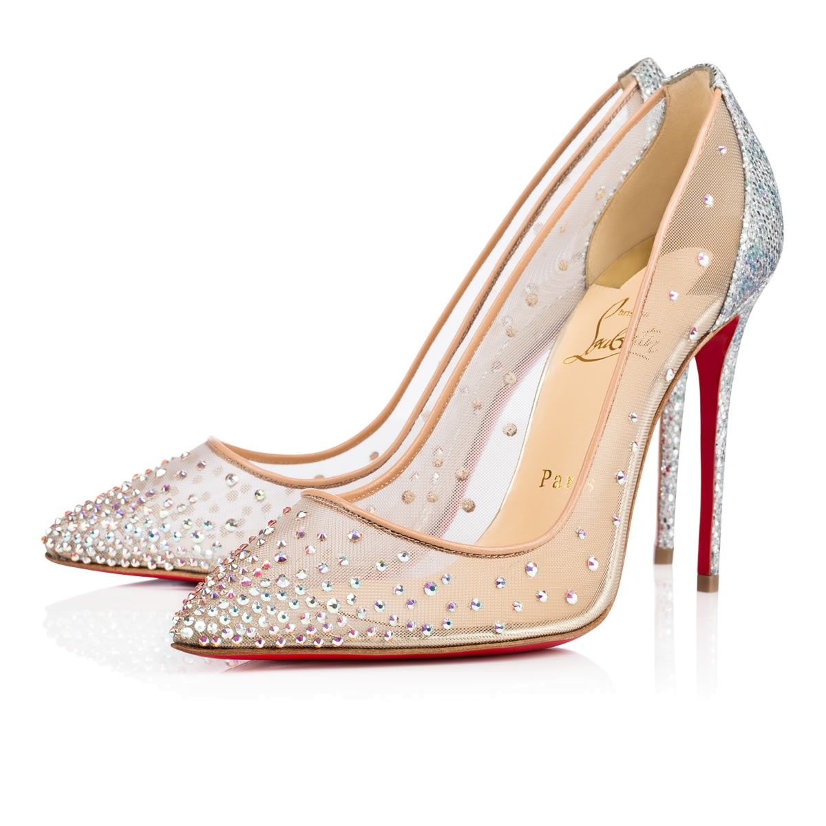 christian louboutin follies strass silver