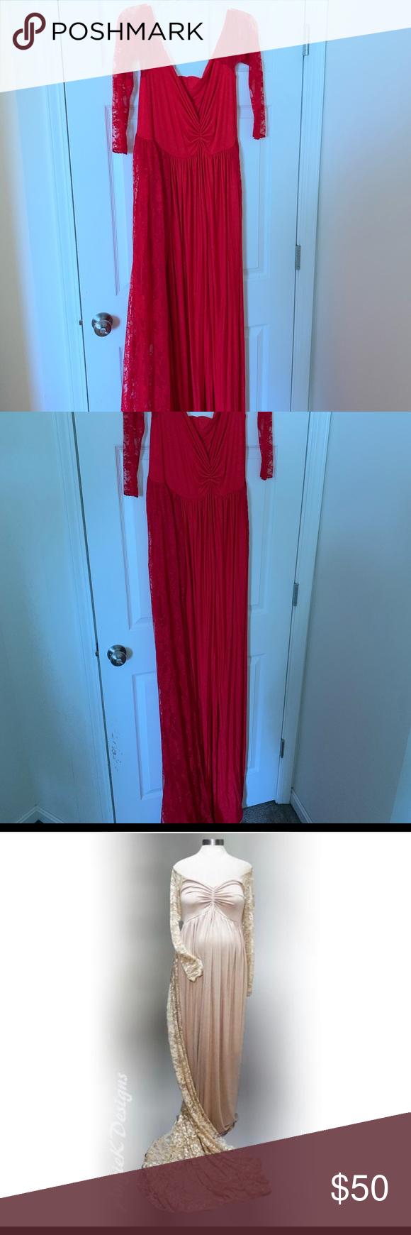 Photo of Maternity Photo Shoot Dress Plus size. Custom lace maternity Photo dress. Size 2…