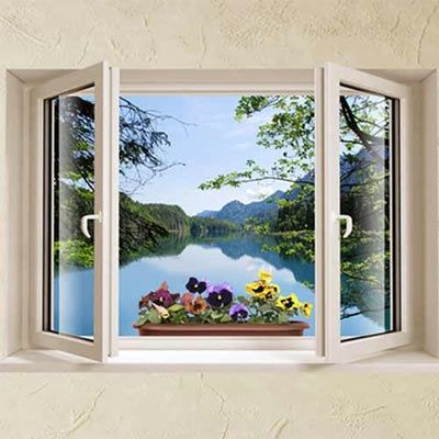 Deffect Wall Decal Window With Lake View And Pansies Looks Like - 3d effect wall decals