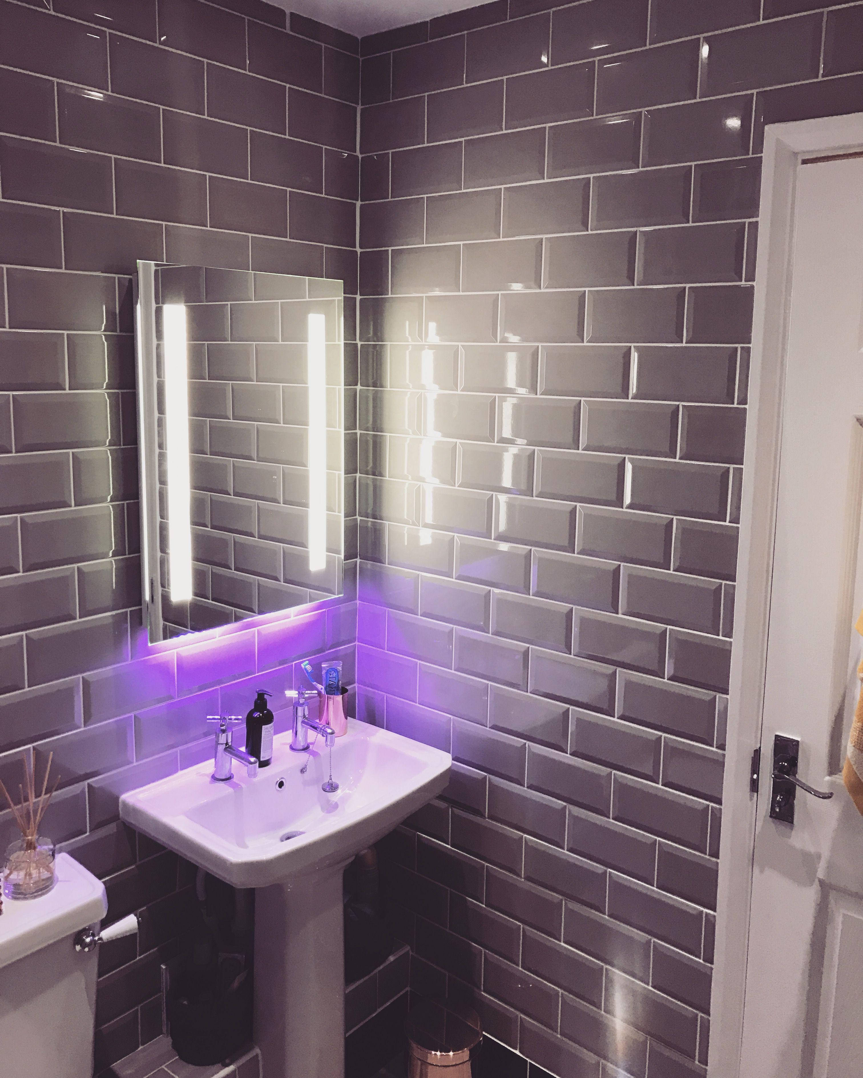New bathroom grey subway tiles white grout and illuminated grey subway tiles white grout and illuminated bluetooth mirror doublecrazyfo Choice Image