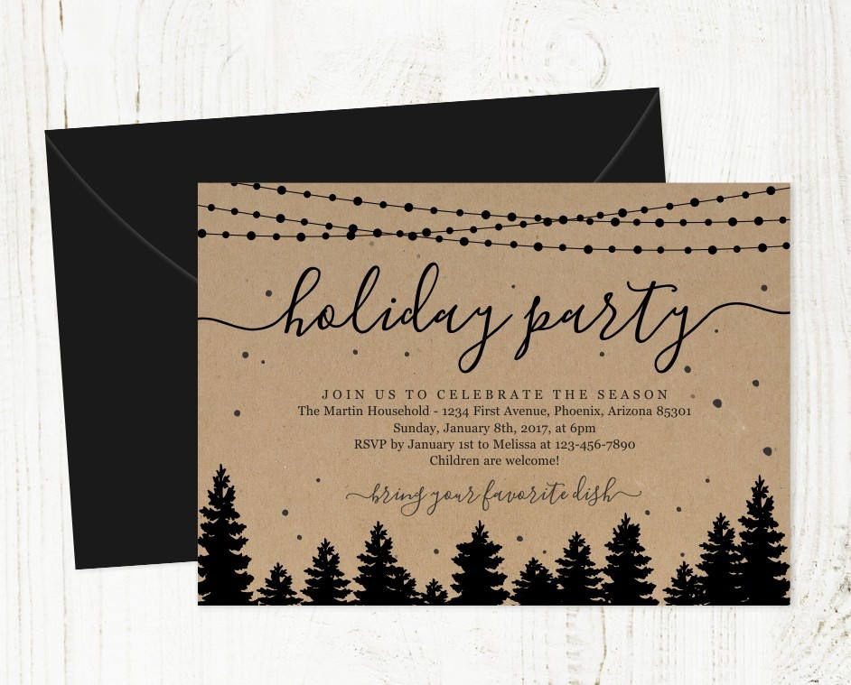 Holiday Party Invitation - Printable Christmas Party Template