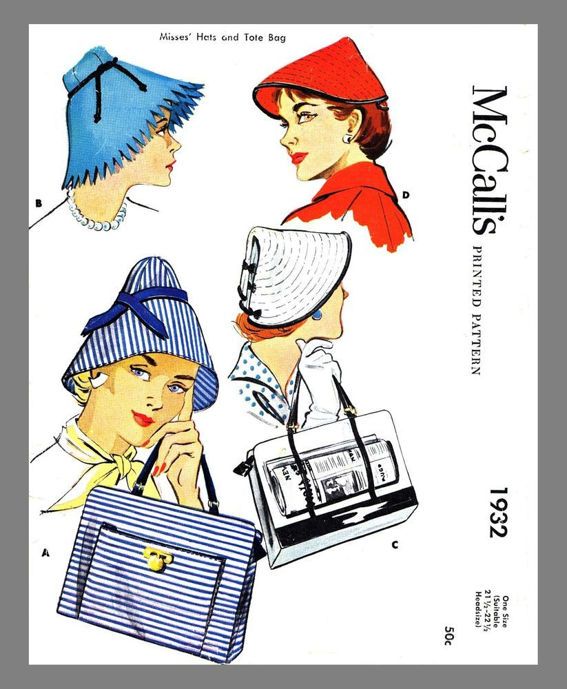 Vintage McCall's  Millinery Hat & Tote Bag Fabric Material Sewing Pattern  #1932 #McCalls1932