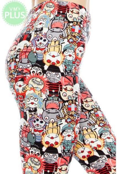 PLUS SIZE MONSTERS THEME PRINT LEGGINGS SIZE 12-18 NEW FREE SHIPPING!