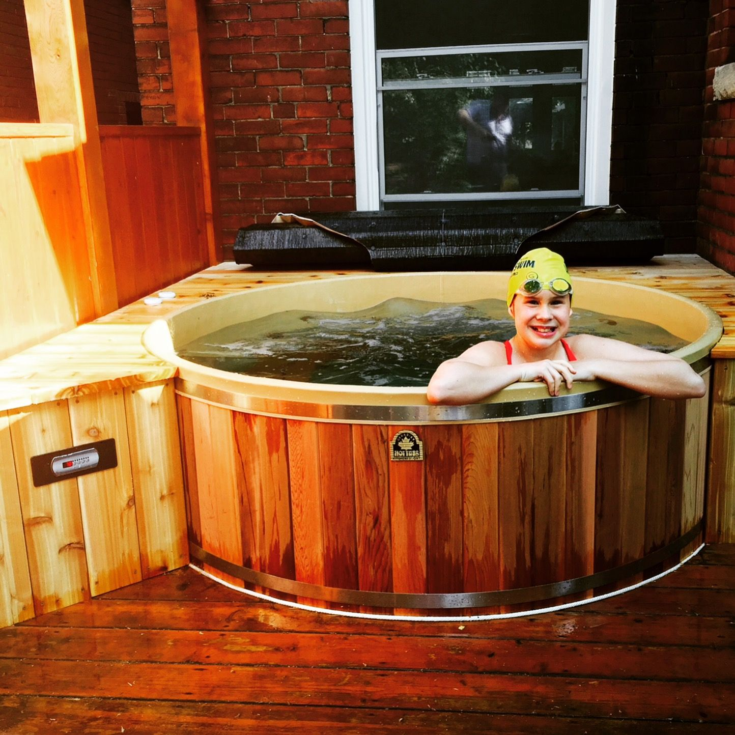 Our hot tub are deep, but swim caps and goggles are strictly ...