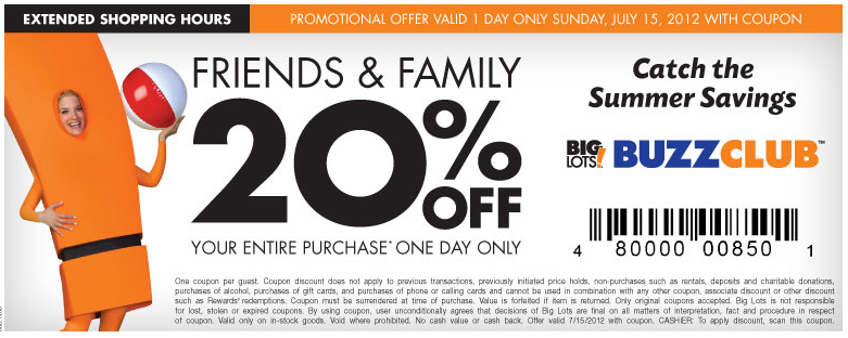 BIG LOTS Coupon for 20 off Entire Purchase Tomorrow