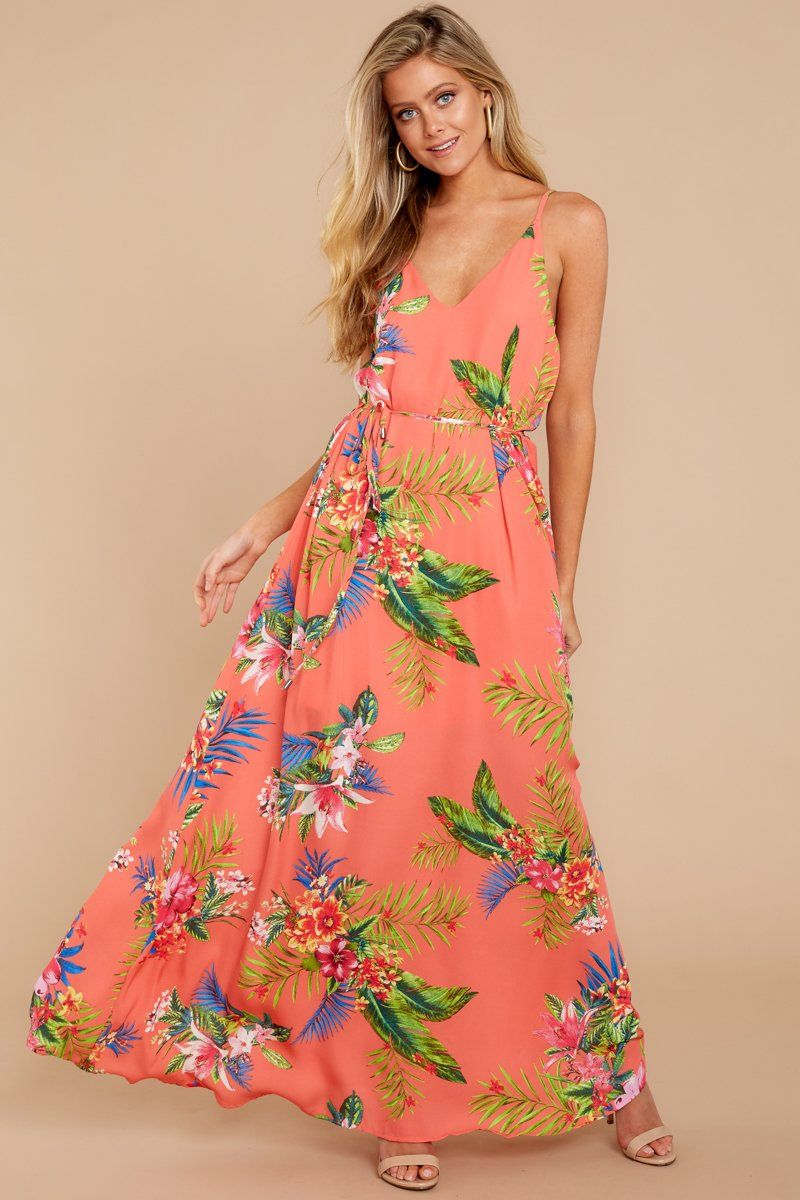 Leave It Behind Coral Tropical Print Maxi Dress With Images Coral Maxi Dresses Best Maxi Dresses Tropical Print Maxi Dress