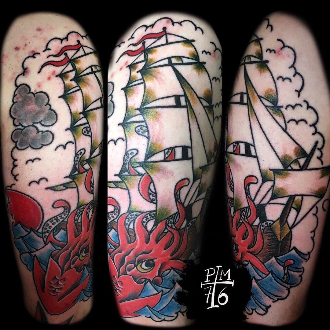 Traditional ship and kraken Sea tattoo, Ship tattoo