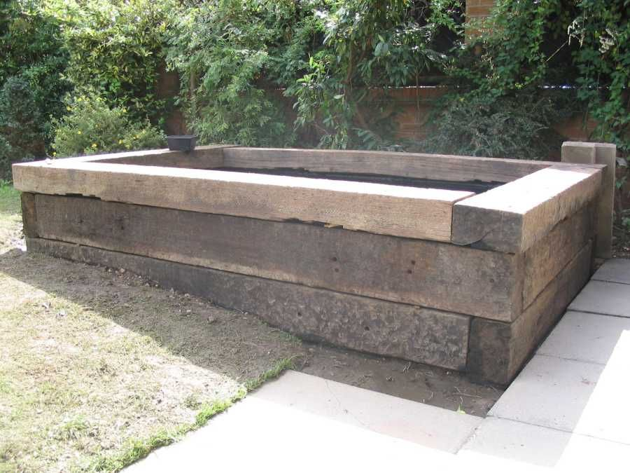 Pond made with railroad ties or raised garden only teo for Garden pond design using sleepers