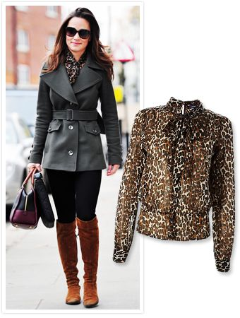 Grey coat with a leopard scarf? Won't have thought of it on my own, but looks great!