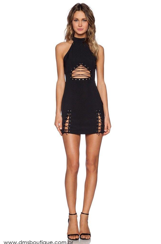 Vestido Preto com Ilhos - Ref.487 | Dress | Pinterest
