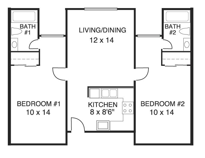 Image result for simple 2 bedroom house plans House plans House floor plans 2 bedroom floor