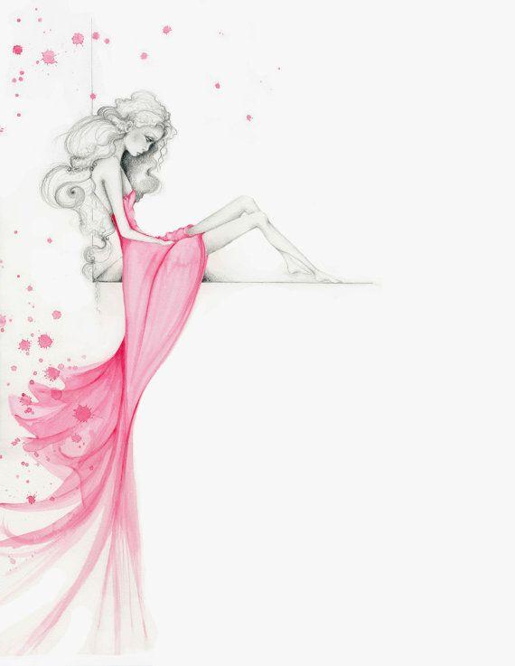 Photo of Ursprüngliche Modeillustration Modedruck Mädchen Aquarell Malerei rosa Kleid Mode Kunstdruck rosa Dekor trauriges Mädchen Bleistiftzeichnung Frauen