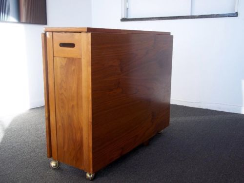 Mid Century Modern Teak Drop Leaf Folding Table With Hidden Chairs