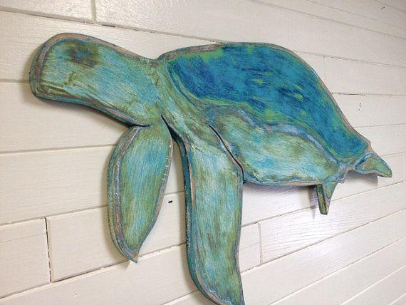Sea Turtle Wood Sign Wall Art Honu Tortoise Beach House