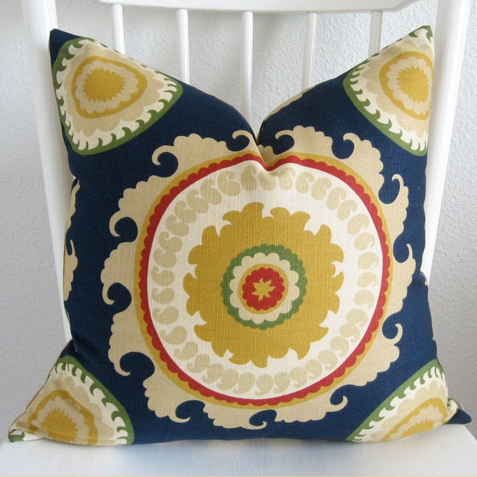 Navy blue and yellow decorative pillows - Decorative Pillow Cover Throw Pillow Suzani Pillow Ponderosa Suzani Blue Red Yellow