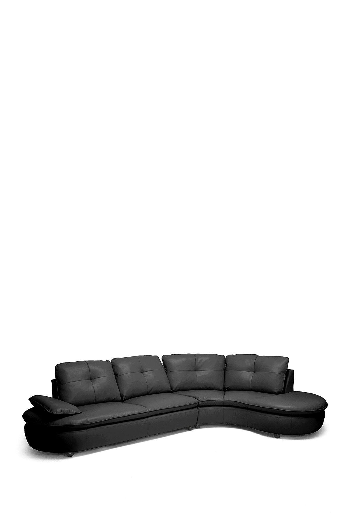 W I Modern Hilaria Black Leather Modern Sectional Sofa