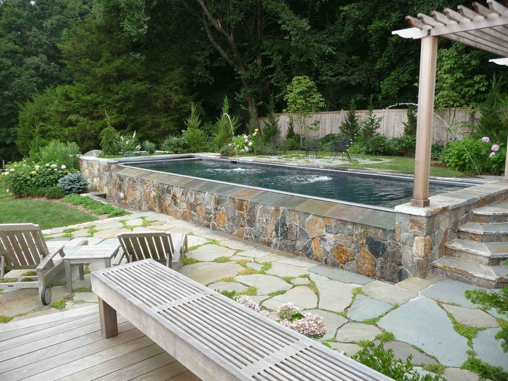 semi inground pools pool beach with coping flagstone fountains