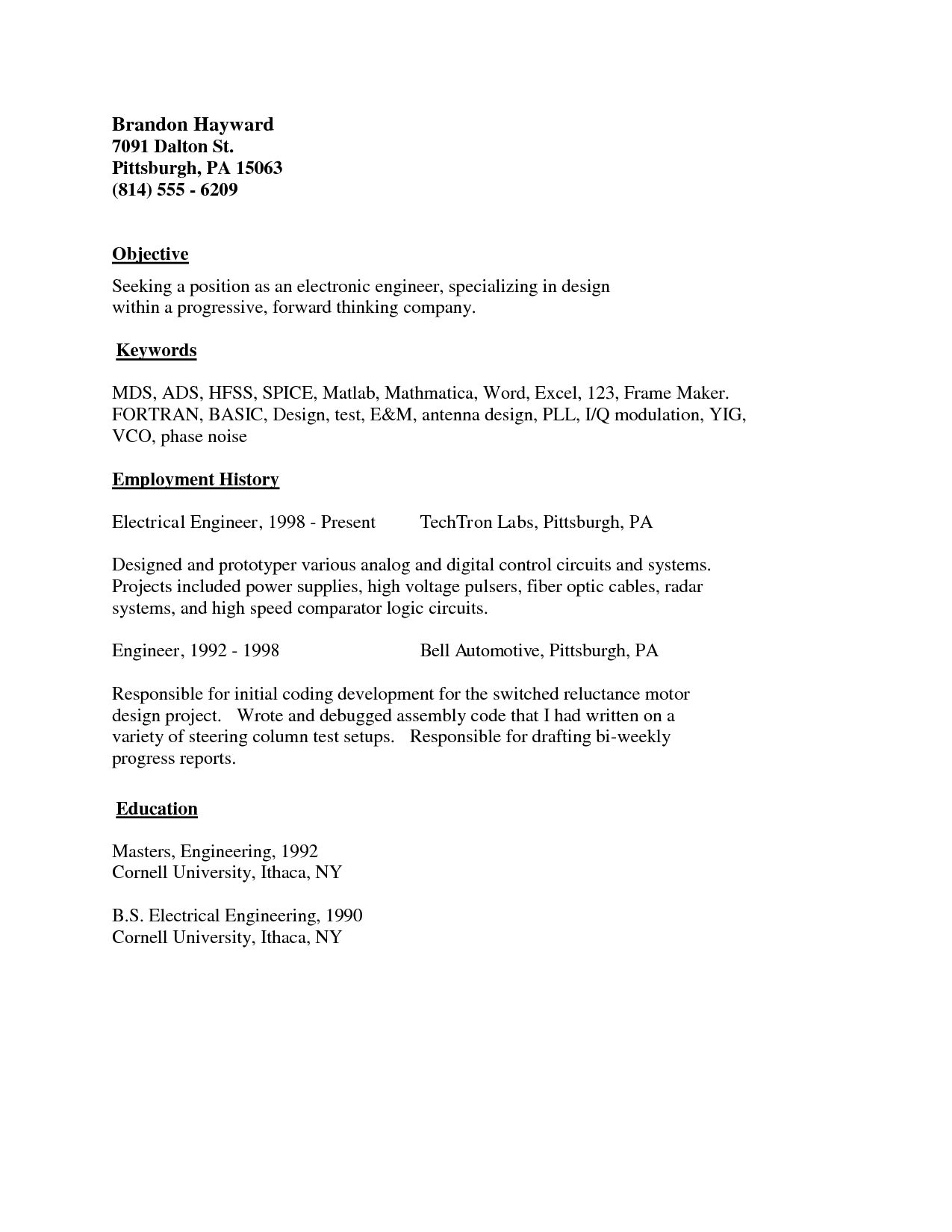 Resume Basic Sample Simple Examples Job With Example Samples Word