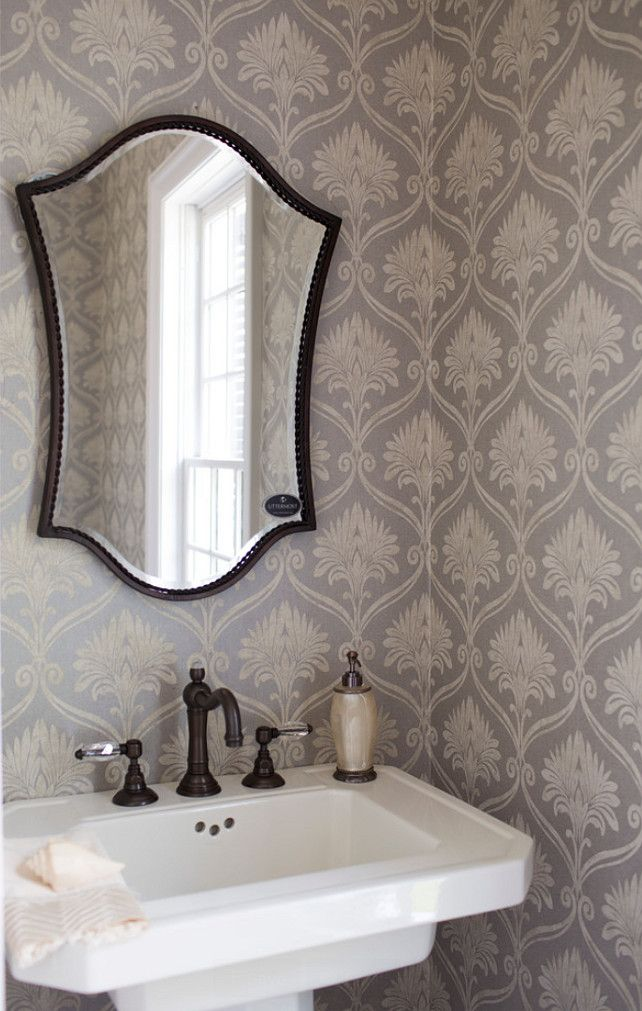 Powder Room With Pedestal Sink And Gray Wallpaper. #PowderRoom  #pedestalSink ##GrayWallpaper Whitestone Builders.