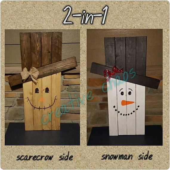 Check out this cute holiday decor standing wood art one side features a scarecrow and the - How to make a snowman out of wood planks ...