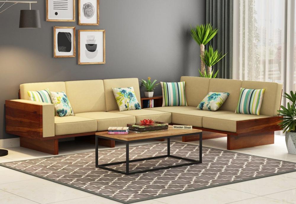 Buy Audrey 6 Seater L Shape Corner Sofa Set Honey Finish Online In India Wooden Street Corner Sofa Design Living Room Sofa Design Wooden Sofa Set