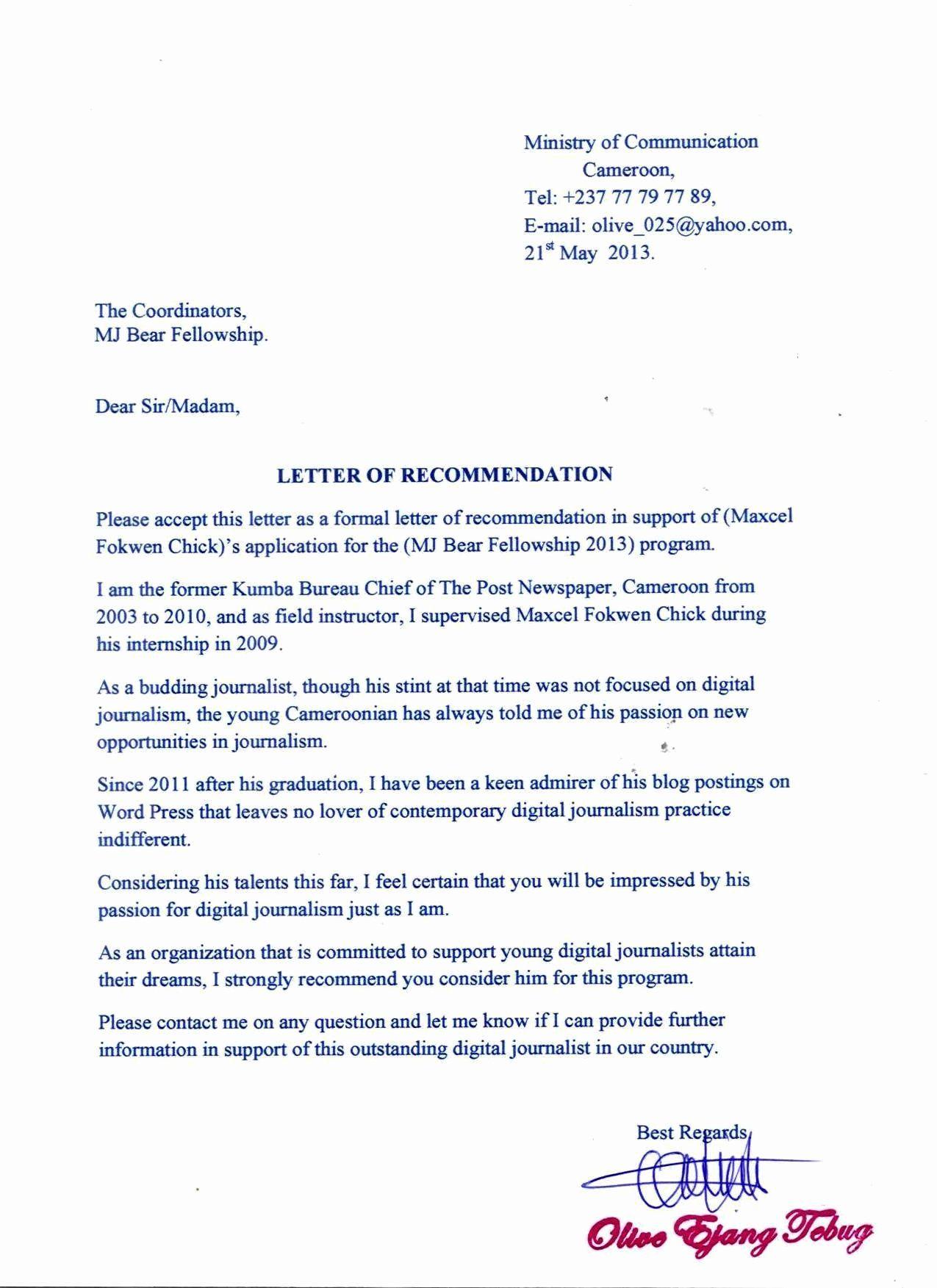 Letter Of for Fellowship Elegant Re
