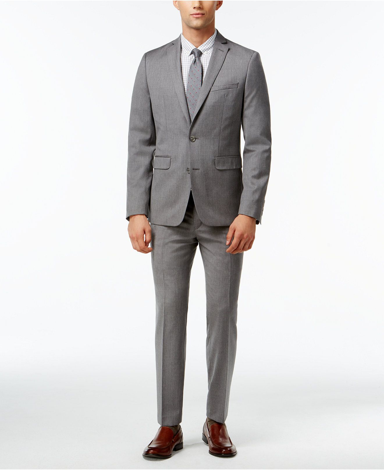 Bar Iii Light Grey Extra Slim Fit Suit Separates Suits