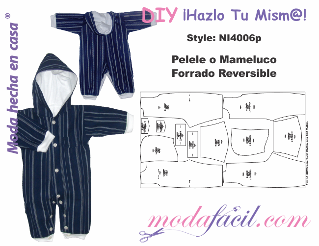 moldes de pelele o mameluco reversible modafacil diy repurposed clothes baby sewing baby. Black Bedroom Furniture Sets. Home Design Ideas