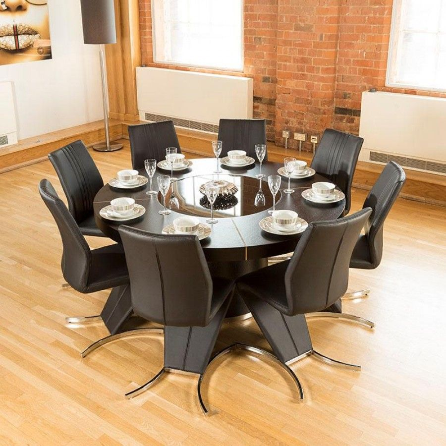 Modern Large Round Black Oak Dining Table Plus Eight High Back Z Shape Chairs Truly Stunning Avant Guard Design Studios 850t