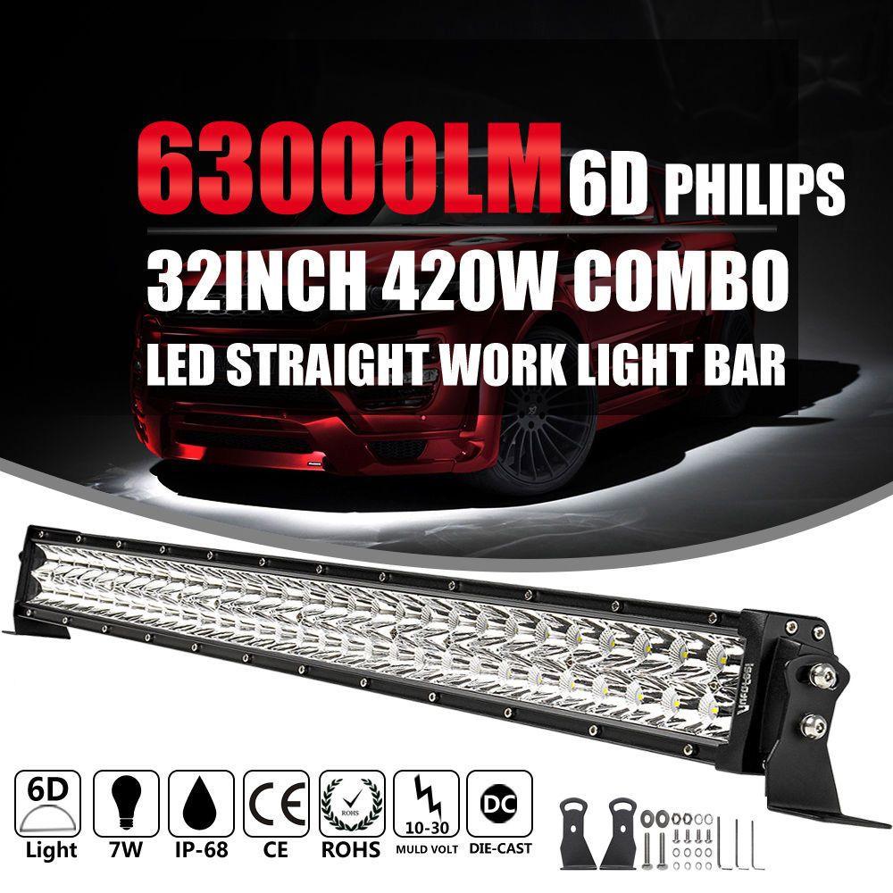 32 Inch 420W LED Light Bar Spot Flood Work Lamp 4WD Boat UTE Driving ATV SUV 30