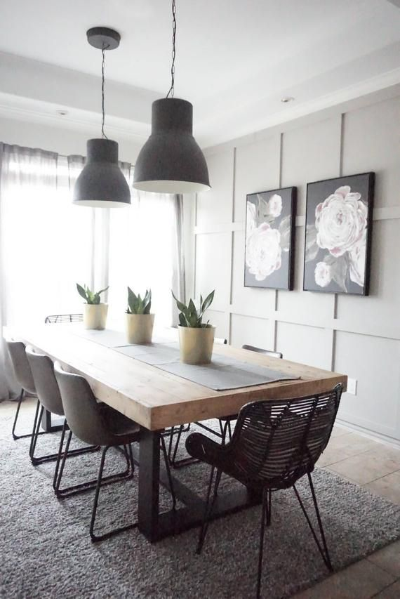 Modern Farmhouse Dining Table With Black Base And Natural Top In