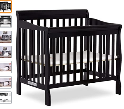 Dream On Me Aden 4 In 1 Convertible Mini Crib Black 4in1 Aden Black Convertible Crib Dream Mini In 2020 Mini Crib Cribs Nursery Furniture Sets White