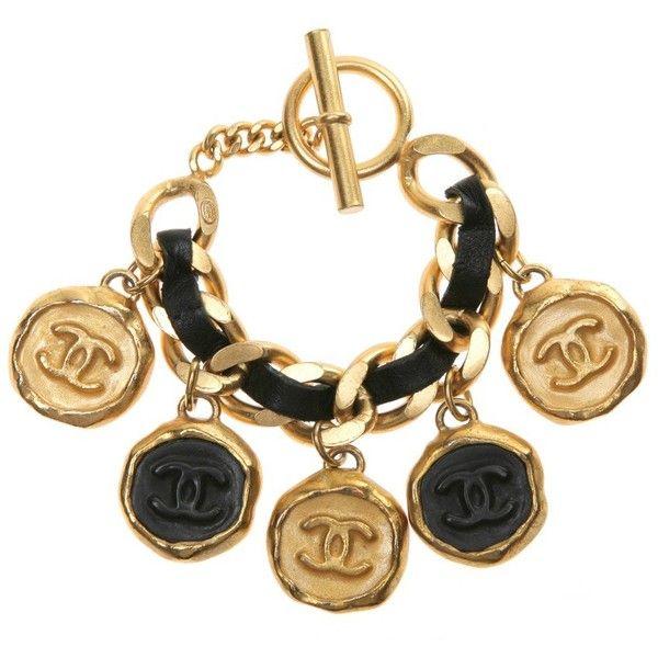 Chanel Vintage Wgaca Vintage Hk3286 95 Lthr Big Copin Brace Found On Polyvore Chanel Jewelry Chanel Charm Bracelet Vintage Chanel
