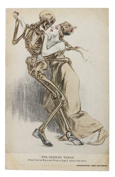 """Cartão postal tipográfico: """"O Tango Alemão"""" de Leste a Oeste e de Oeste para o Leste Eu Danço com você. I Guerra."""