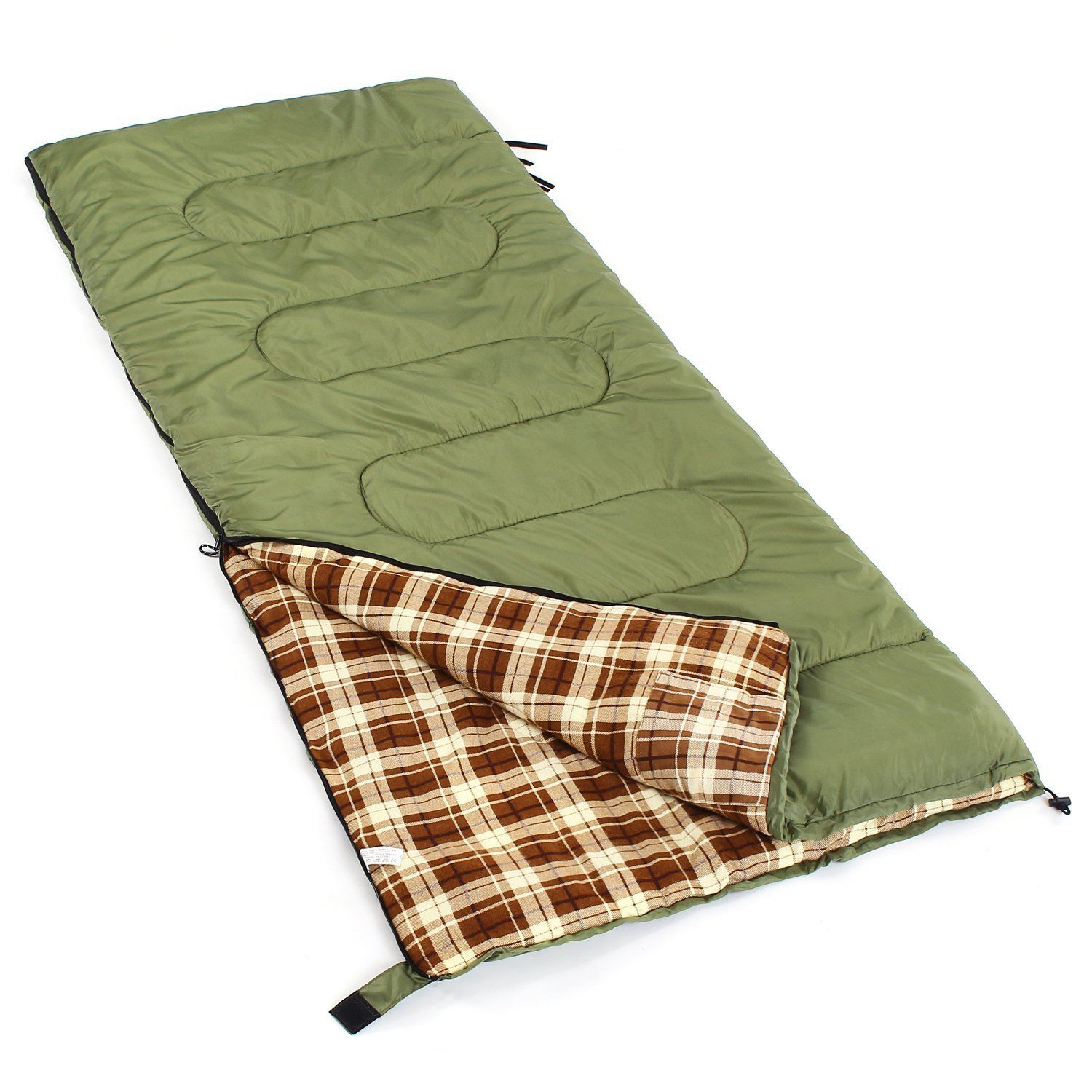 Camp Solutions Sleeping Bag Green Three Seasons Portable Lightweight And Heavy Duty Suitable For 23 Degree F Fit A 6 5 Comfortably Or Two